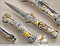 Lady Godiva Automatic Custom Knife    Medieval history glorified Lady Godiva for her heroic ride through town on a white horse, sans clothing!...